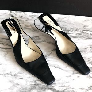 Gucci Black Leather Slingback Heel